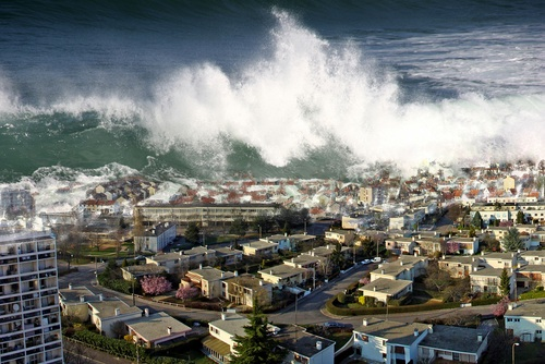 This image simulates a tsunami washing over a coastal village.