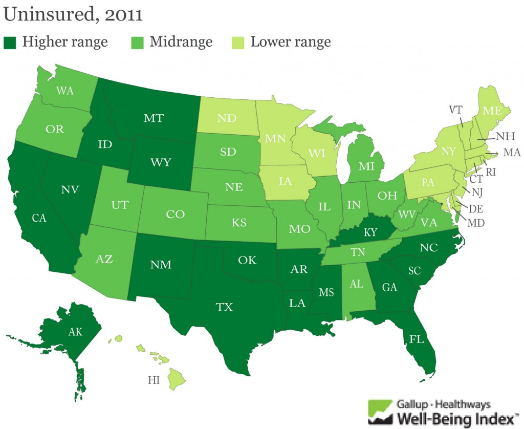 Map Graphic of Uninsured in the United States
