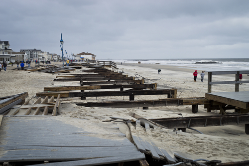 Hurricane Sandy damage to New Jersey boardwalk