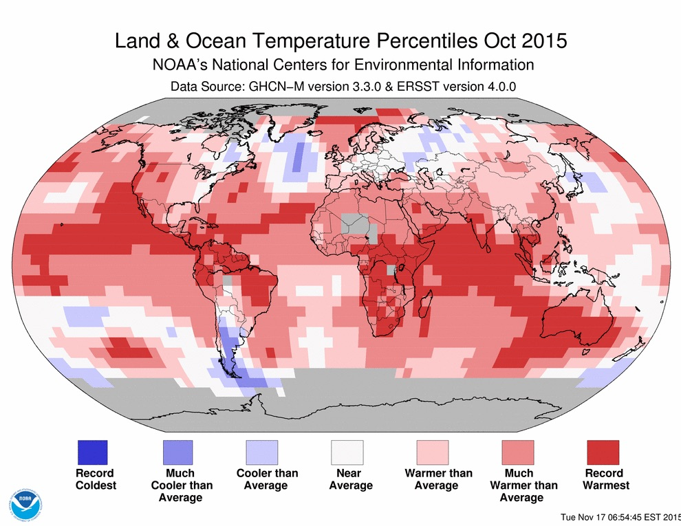 NOAA land and ocean temp percentiles