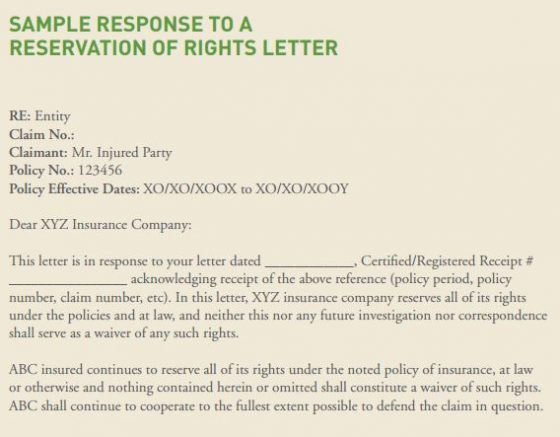 Sample Response To Reservation Of Rights Letter