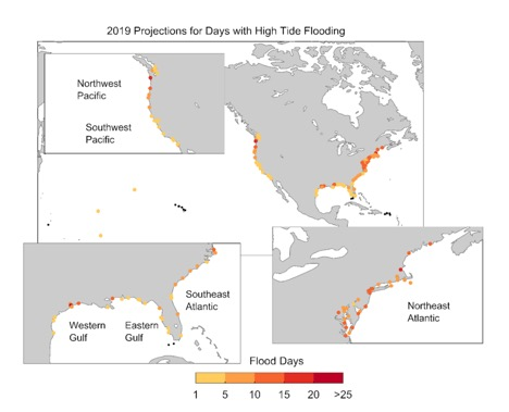 NOAA 2019 projections for days with high tide flooding